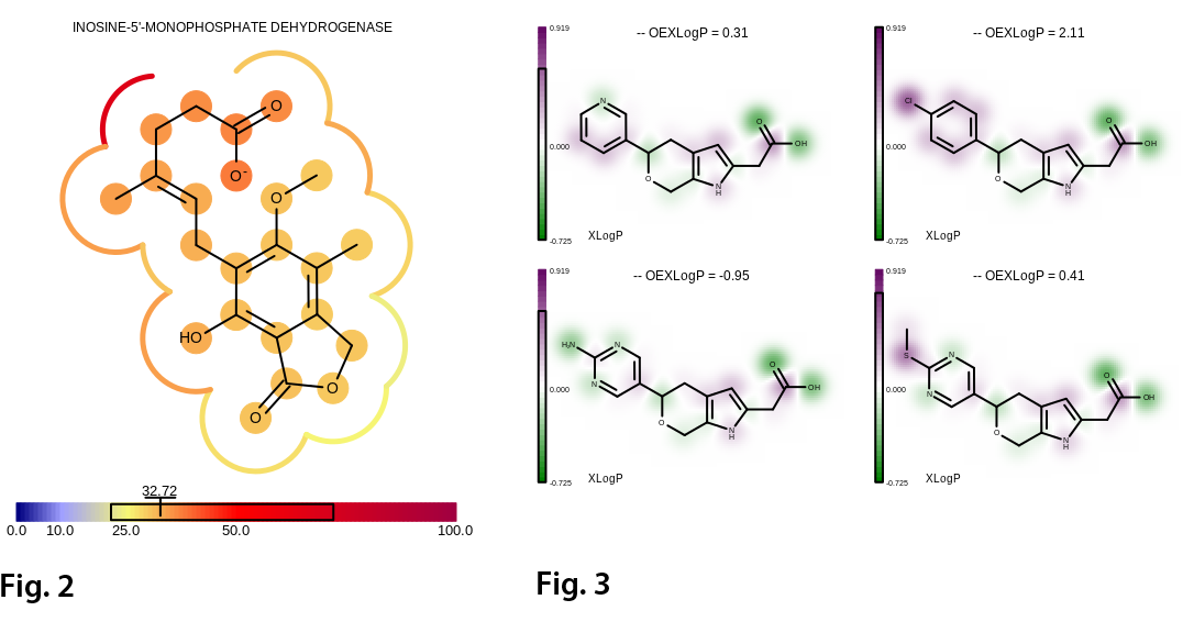 Fig. 2 Visualizing the B-factor of the ligand (MOA) using atom annotations and projecting the average B-factor of the adjacent receptor atoms into the 2D molecule surface (complex 1meh).   Fig. 3 Projecting the contribution of each atom of the total OEXLogP into a 2D property map