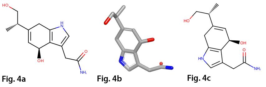 Generation of 2D depictions (a) default 2D layout, (b) 3D conformation, (c) 2D layout driven by 3D conformation