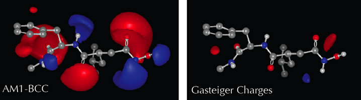 Electrostatic potential around a collagenase inhibitor when it is charged using the AM1-BCC and Gasteiger models. Appropriate charging is critical for accurate calculations and meaningful visualizations.